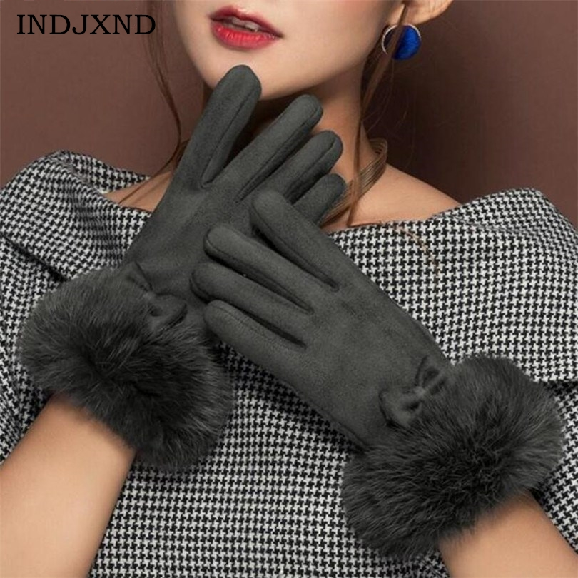 INDJXND Winter Women's Clothing Accessories Elegant Suede <font><b>Glove</b></font> Warm Bow Driving Soft Mittens Wrist Female Touched Screen <font><b>Gloves</b></font>