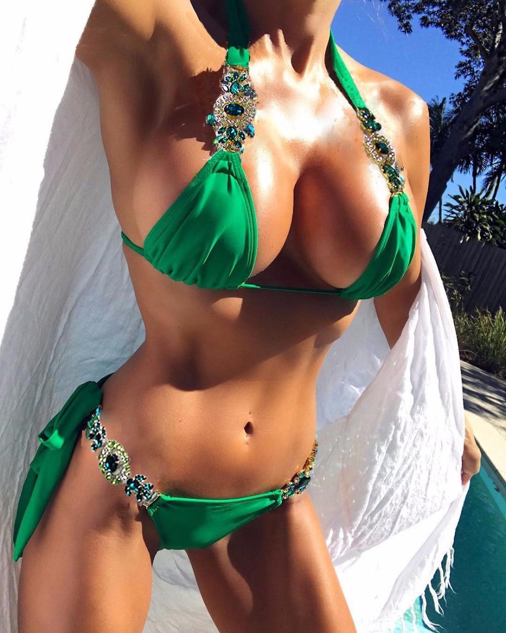 Bandage Bikini Crystal Swimsuit Monokini Swimwear Women Green Bikinis Brazilian Rhinestone Beachwear PushUp Bikini 2018 Biquini