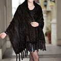 Women Knitted Real Mink Fur Scarf With Tassels Winter Neck Wrap Women Warmer Fashion Natural Fur Shawl 185X35cm