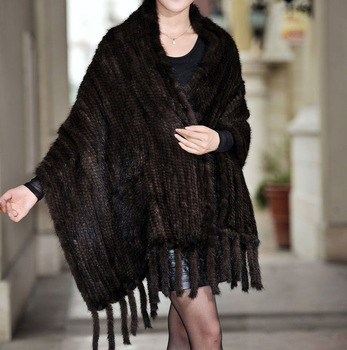 Women Knitted Real Mink Fur Scarf With Tassels Winter Neck Wrap Women Warmer Fashion Natural Fur Shawl 185X35cm Chemisier