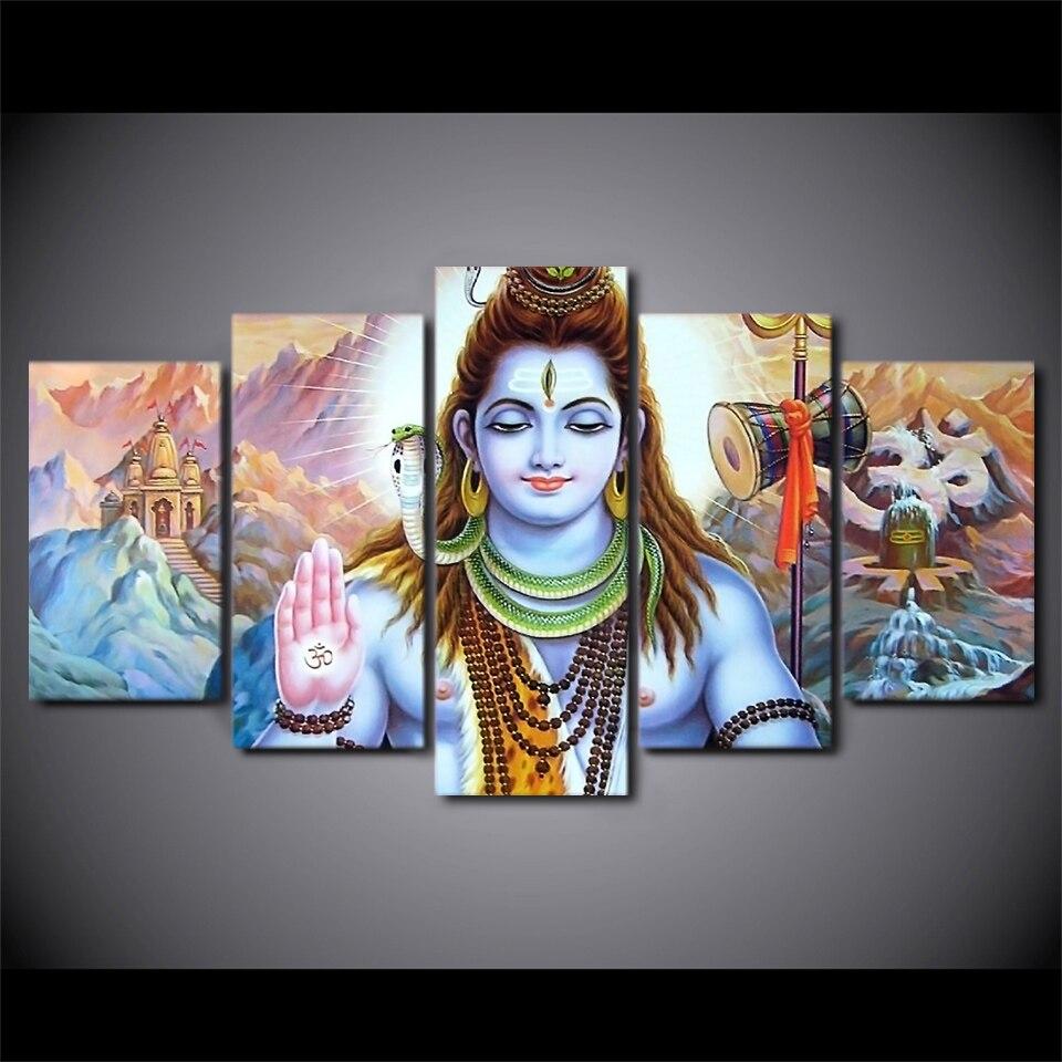 5 pièces encadré HD imprimé hindou dieu seigneur Parvati Shiva photo mur Art toile chambre décor affiche toile moderne peinture à l'huile