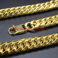 New Cool Men S Handmade Pure Heavy Stainless Steel 18K Yellow Gold Cuban Link Necklace Chain