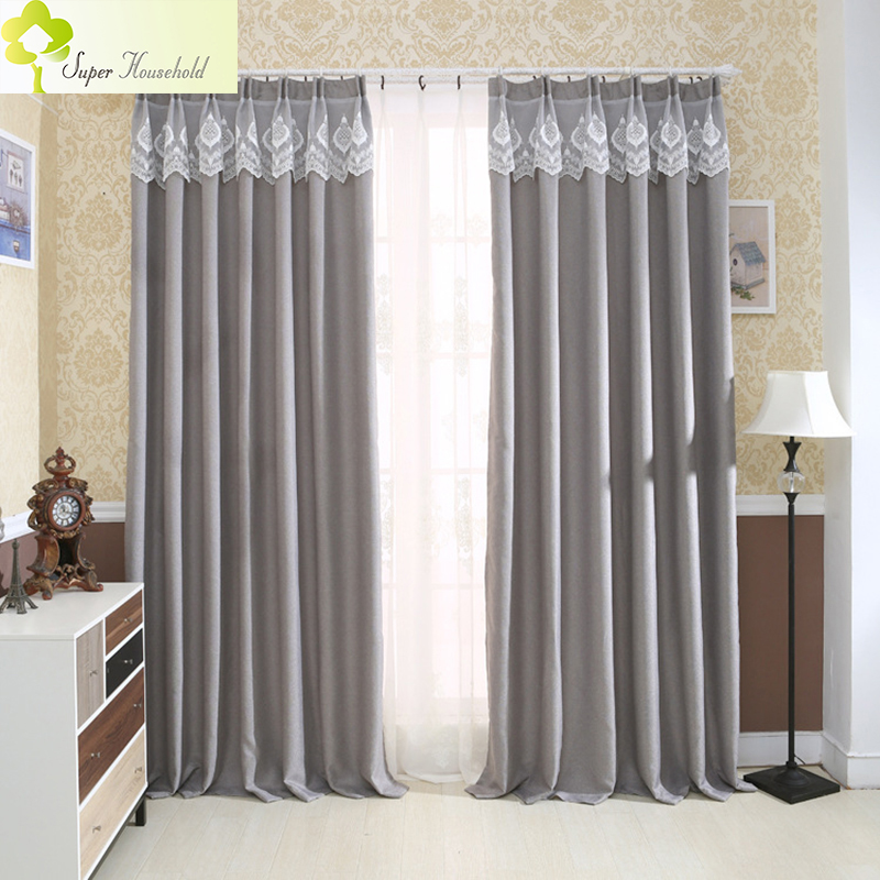 Solid Colors Blackout Curtains For Living Room Faux Linen