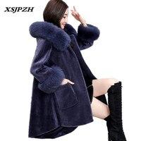 2018 Новый Для женщин зимние кожаное пальто стрижки овец наружный мех один лисий мех с капюшоном свободные толстые теплые Меховая куртка LB148