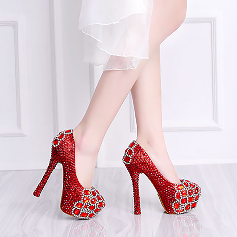 14cm High Heels Platform Pumps Women Wedding Shoes Red Silver Crystal Bridal Evening Party Round Toe Shoes Female Footwear цена