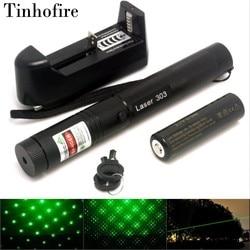 Tinhofire лазер 303 5 мВт зеленая лазерная указка Регулируемая Фокусное расстояние и с фильтром звездного узора + аккумулятор 18650 4000 мАч + зарядное ...