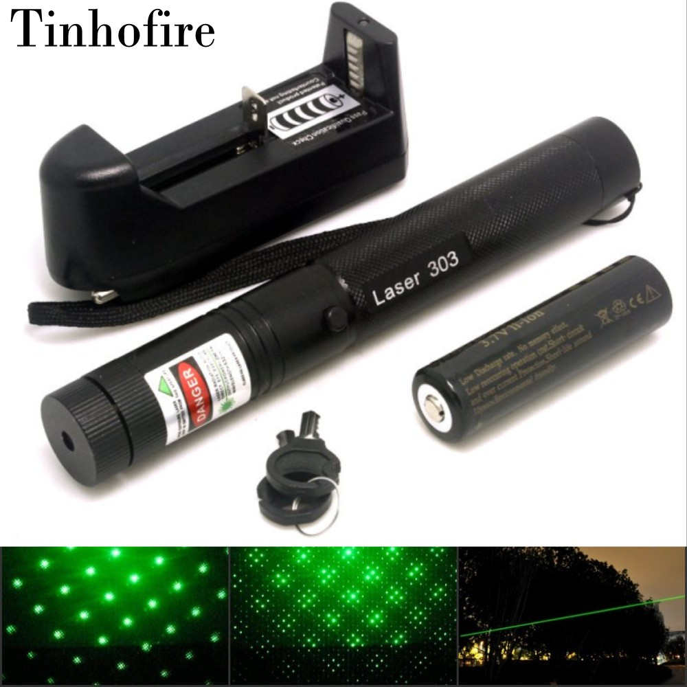 Tinhofire Laser 303 5mW Green Laser Pointer Adjustable Focal Length and with Star Pattern Filter+4000mah 18650 battery+charger