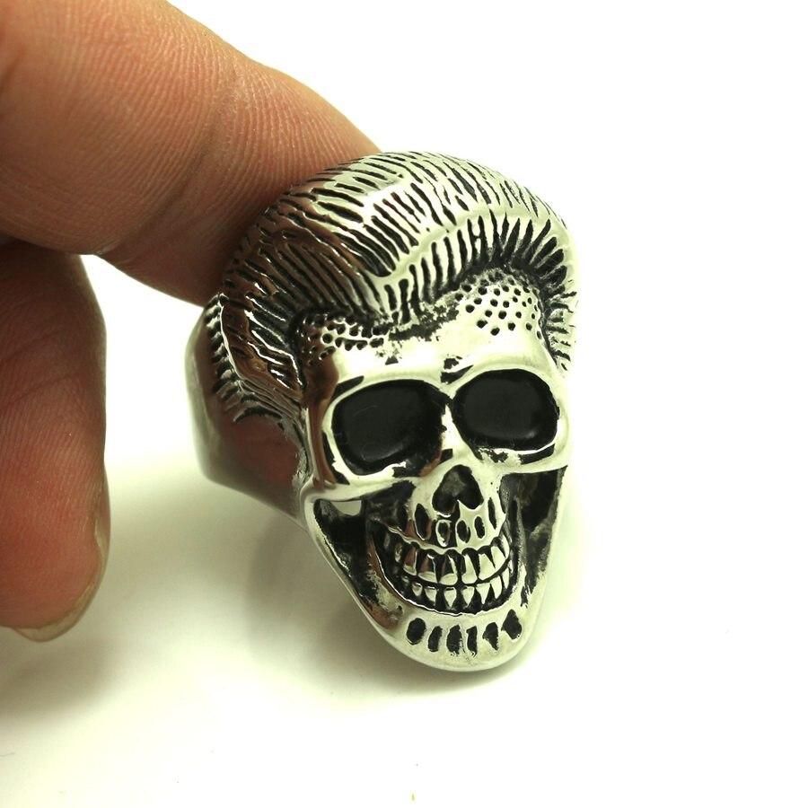 316L Stainless Steel Cool Silver Biker Skull Ring