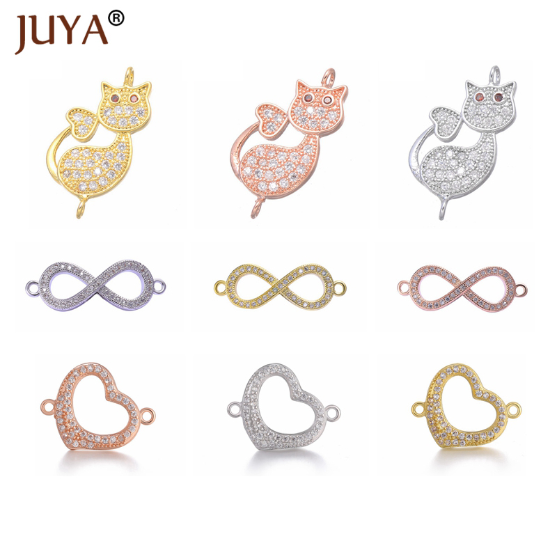 Cubic Zirconia Jewellery Findings Accessories Fashion Charm Connectors For Bracelet Necklace Earrings Making Handmade Jewelry