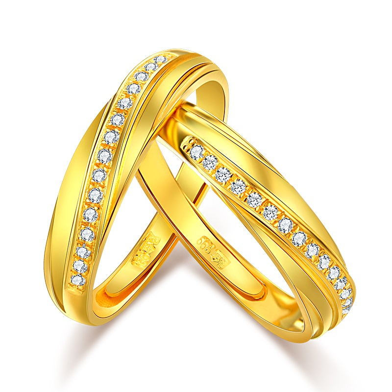 Pure and Solid 999 Gold Ring Men And Women 999 Gold Couple Wedding