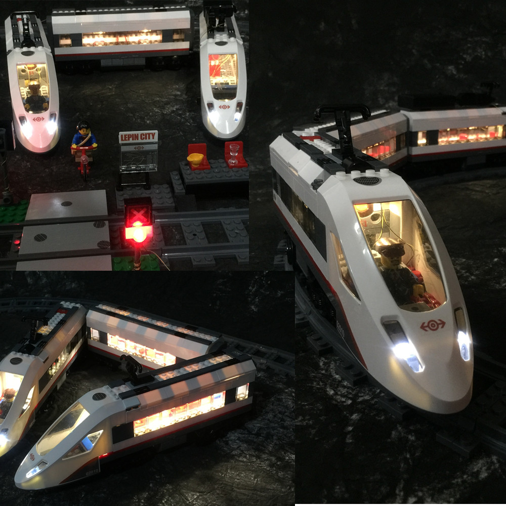 Julita Kit de luz LED (sólo luz incluida) para Lego 60051 compatible con 02010 ciudades tren de pasajeros de alta velocidad
