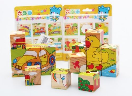 Wooden toy colorful farm animal forest animal Insect Fruit traffic cartoon 6 sides puzzle baby toy gift 1set 97pcs diy wooden tractor mechanical transmission model assembly puzzle toy for ugears gift