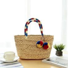 Bohemian Fashionable Mini Color Clocking Bag Cute Handmade Ball Straw Beach Woven Storage Bags For Women 3 Colors