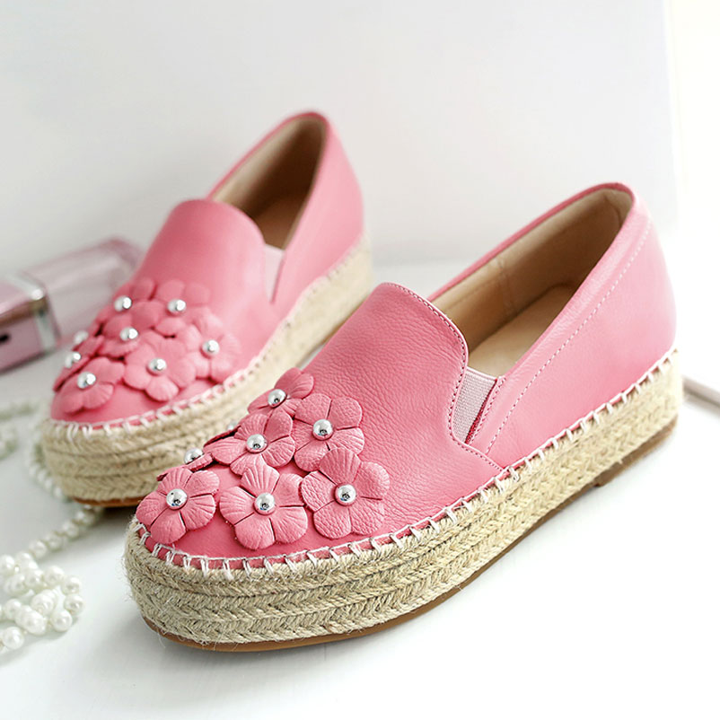 ФОТО Shoes Woman brand Loafers 2017 Women Luxury Genuine Leather Flat Shoe Woman Platform Espadrilles Women Luxury Ladies Shoes