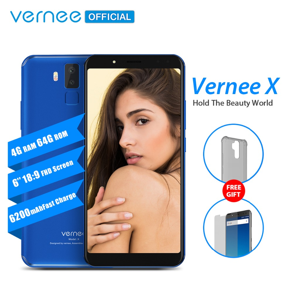 Vernee X 6.0 Pouces 6200 mAh 18:9 FHD Smartphone 4G LTE téléphone portable Visage ID 4 GB RAM 64 GB ROM MTK6763 Octa Core 16.0 MP téléphone portable