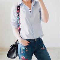 Women Tops Blouse Spring Autumn Long Sleeve Casual Gradient Color Body Denim Shirt Slim Cotton Jeans
