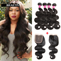 Brazilian Virgin Bundles With Closure Queen Weave Beauty Mink Brazilian Hair 4 Bundles With Closure Body Wave Bundles Human Hair