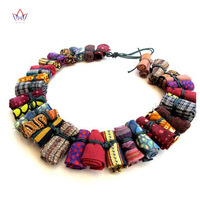 Unique African Women Jewelry Pure Handmade Statement Necklace Africa Printed Wax Fabric Accessories Necklaces WYA30