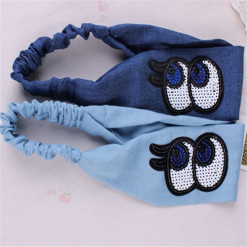 Hair with Europe and the United States headband big hair hoop new headband sequins denim fabric hair bundle handmade wholesale europe and the united states women s new winter 2016 worn out show thin butterfly sequins loose nine points straight jeans