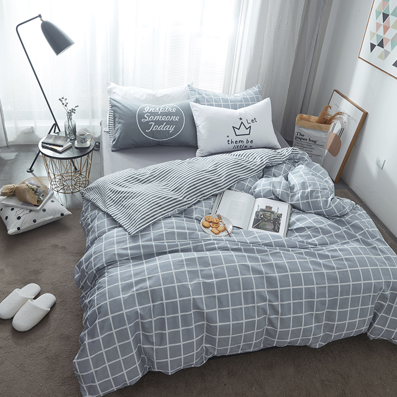 Plaid Grey Bedding Sets 100% Cotton Queen/king Size Simple and Comfortable Appropriate for All Seasons Suitable for Men/women