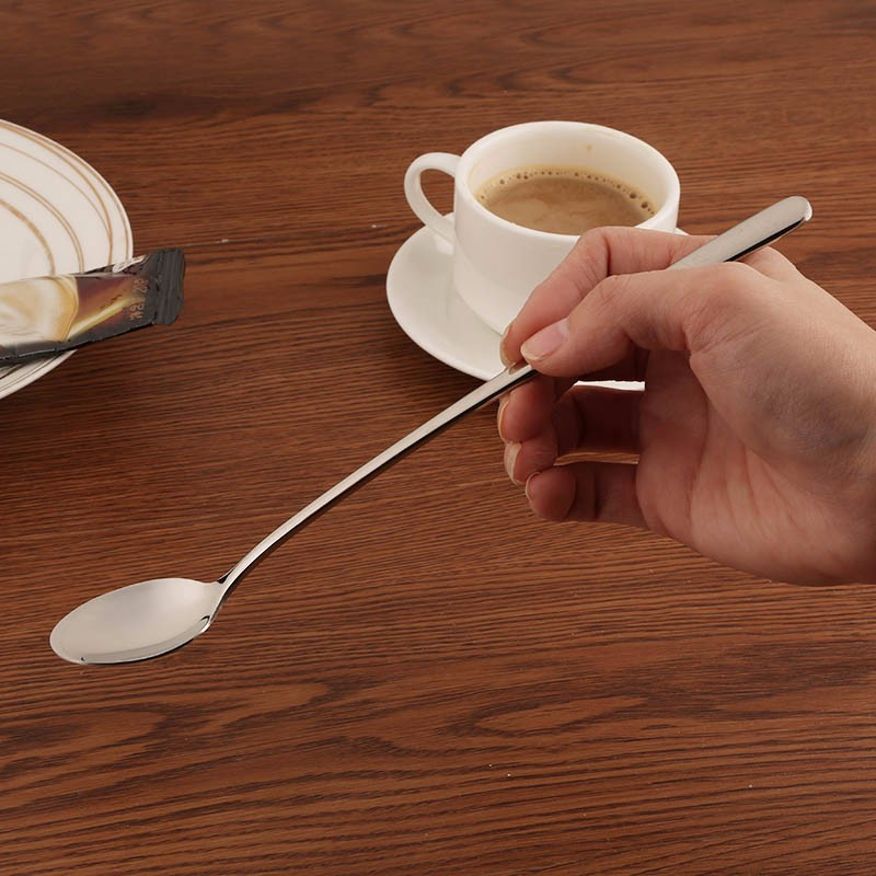 High quality 410 Stainless Steel thicken Handle 24cm long spoon Ice spoon Mirror Polishing for Dessert Coffee Stirring 2pcslot (1)