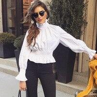 Singwing Lanterna manica della signora high street camicia maniche lunghe nuovo stile tipo sottile Camicetta Top bianco puro Delle Donne Camicette camicie
