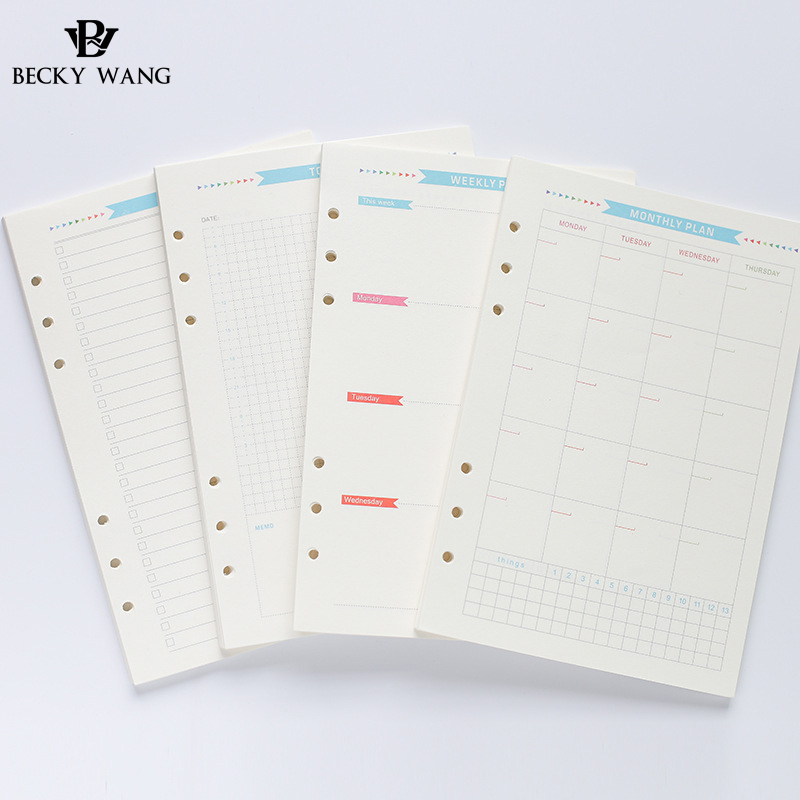 160 Sheets Set 6 Holes Loose Leaf Notebook A5 A6 Paper Spiral Planner Refill Inner Page Diary Weekly Monthly Plan To Do List binder inner page notebook loose leaf papery separator index paper separation divider page 5 sheets matching filofax kikkik