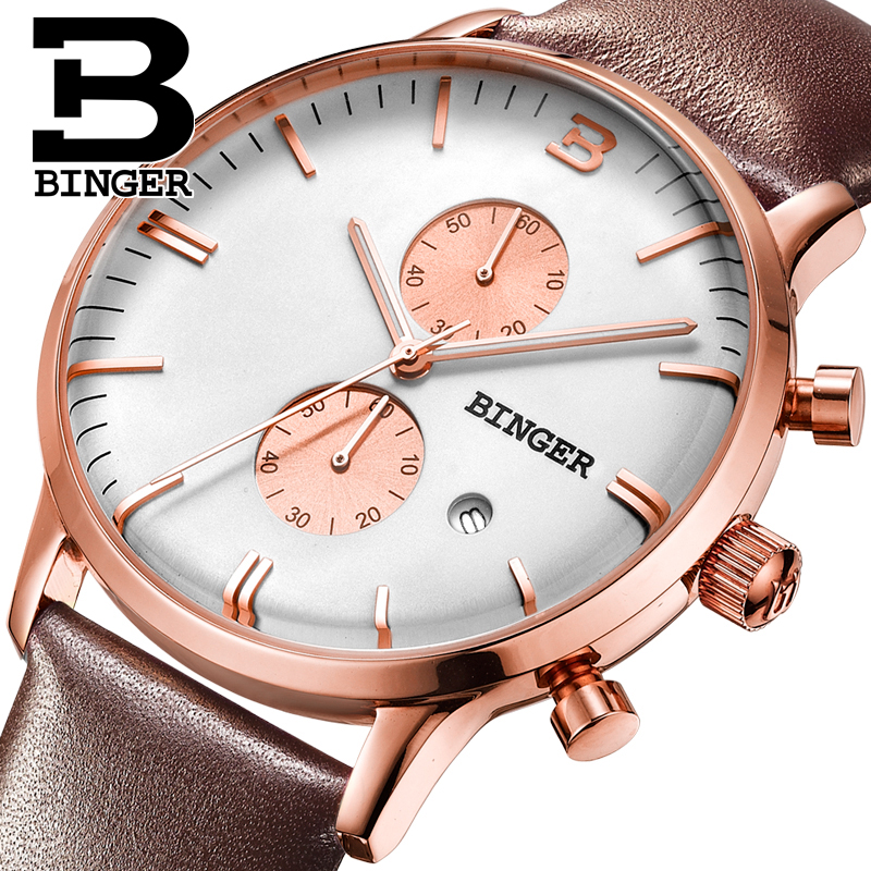 relojes hombre 2017 New Clock BINGER Men Waterproof Quartz Chronograph Watches Sports Wrist Watch Male Leather Band Relogio sinobi original vogue new design wrist watches for men dress office waterproof men watch travel factory directly sale relojes