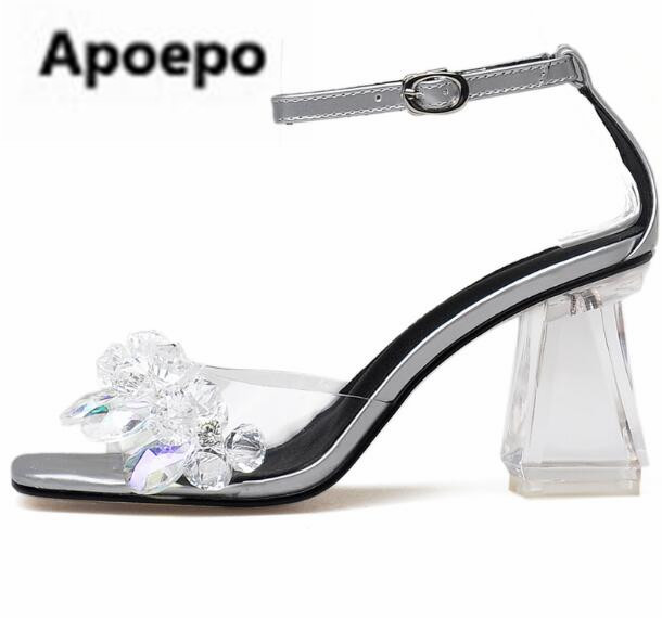 Apoepo brand sexy sandals women Rhinestone high heels sandals shoes ankle buckle crystal decor sliver ladies wedding shoes 2018