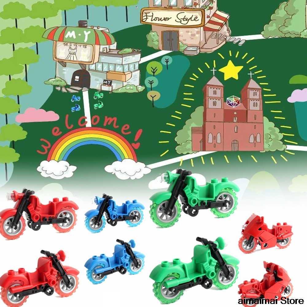 Legoing Motorcycles Duplo Figures City Family Superman Mermaid Car Truck Bus Cargo Plane Batman Doll Block DIY Toy Legoings Gift