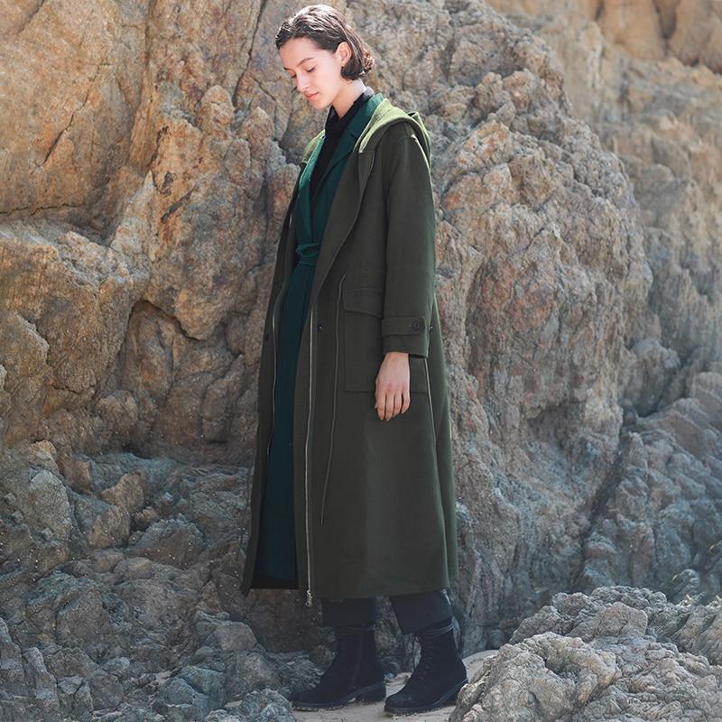 2018 AW коллекция двусторонний шерсти пальто с капюшоном на каждый день длинные army green шерстяное пальто женские