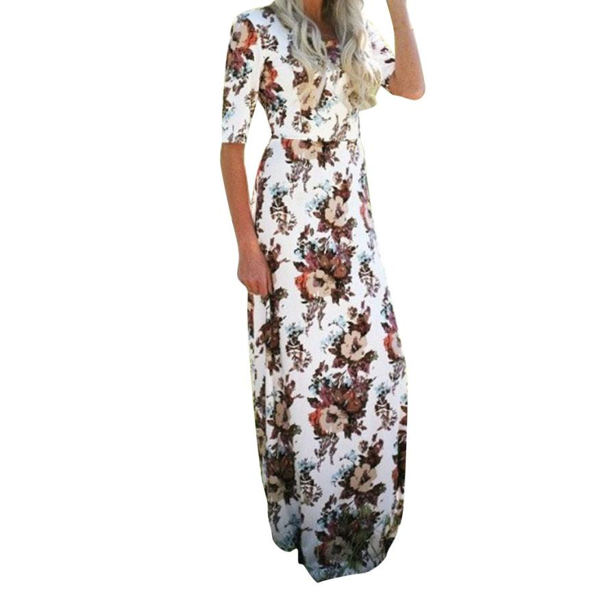 snowshine YLI Womens Floral Long Maxi Dress Half Sleeve Evening Party Summer Beach Sundress free shipping