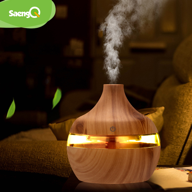Saengq umidificador elétrico essencial aroma difusor de óleo ultra-sônico madeira grão umidificador ar usb mini névoa fabricante luz led 1