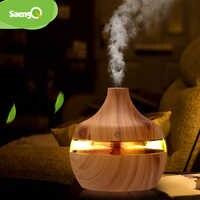 saengQ Electric Humidifier Aroma Oil Diffuser Ultrasonic Wood Grain Air Humidifier USB Mini Mist Maker LEDLight For Home Office