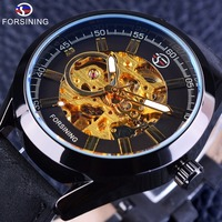 Forsining 2017 Casual Sport Series Waterproof Steampunk Watch Mens Watches Top Brand Luxury Automatic Watches Men Skeleton Clock