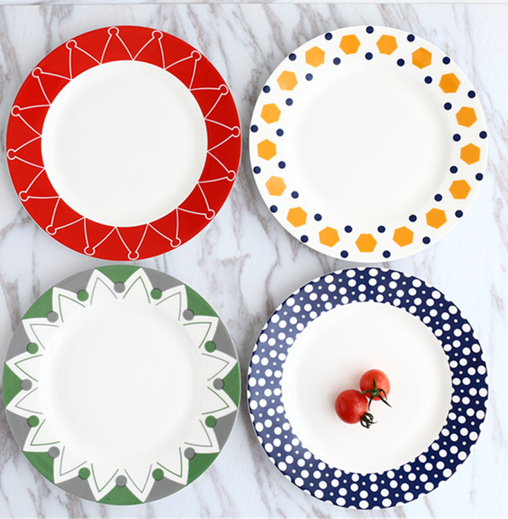 8 inch 4pcs set bone china dinner plates creative modern ceramic dishes for restaurant porcelain dinnerware wedding plate-in Dishes \u0026 Plates from Home ...  sc 1 st  AliExpress.com & 8 inch 4pcs set bone china dinner plates creative modern ceramic ...