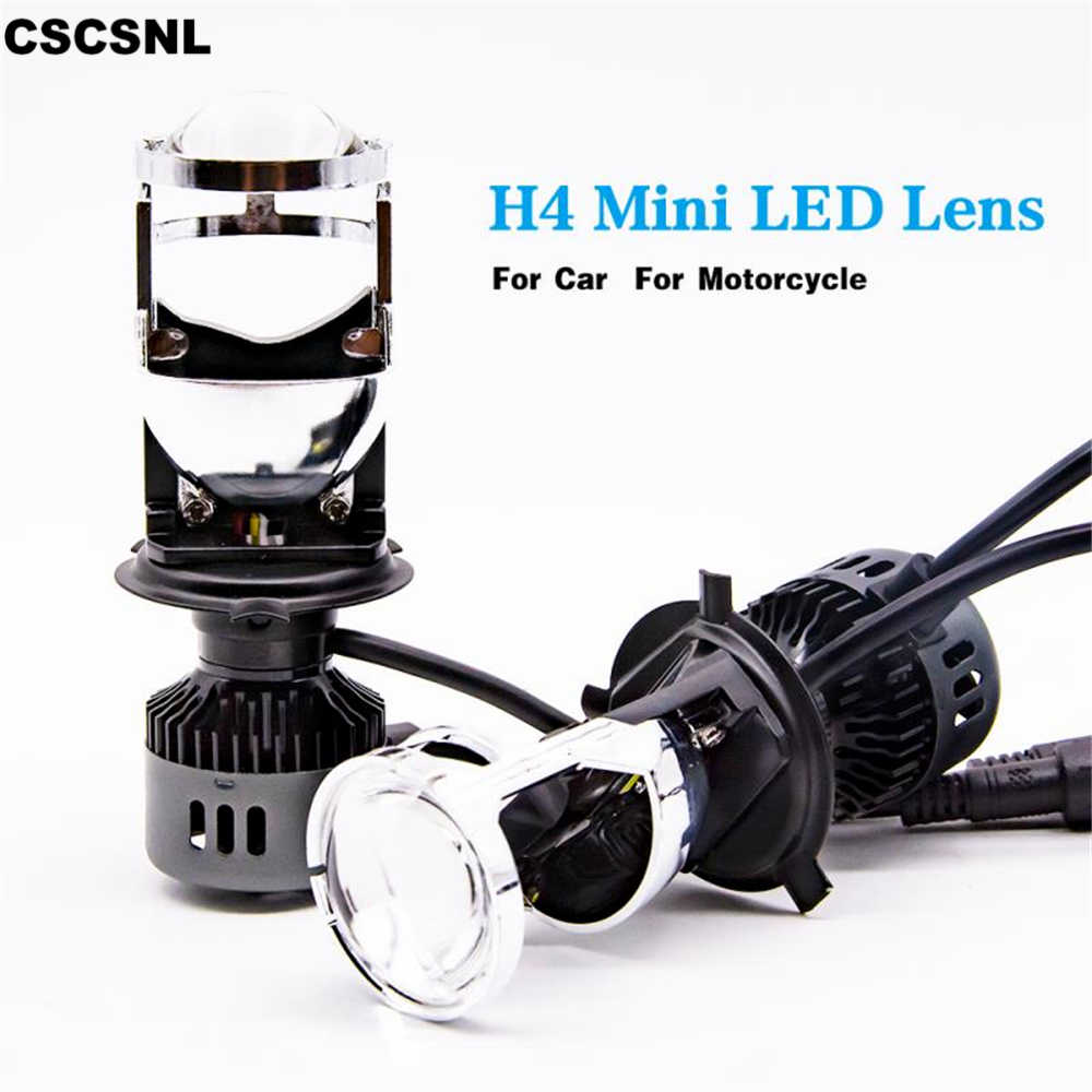 CSCSNL 1Pair LED for car clear beam pattern 12V 24V 72W 6000k no astigmatic problem H4 LED hi-lo mini projector lens headlight
