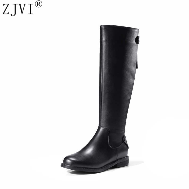 ZJVI women fashion knee high boots woman autumn winter thigh high boots womens genuine leather boots ladies 2018 black shoes 2016 new arrive fashion knee high boots for women genuine leather black fashion women boots autumn winter ladies
