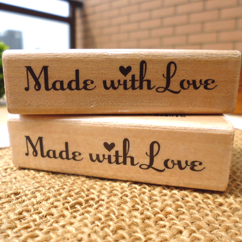 1pcs 2Styles Retro Seal Vintage Wood Rubber Stamp Scrapbook DIY Made With Love With All My Heart Stamp Album Decoration Handmade diy scrapbooking korea streetlight lighthouse retro seal stamps vintage wood rubber stamp album decoration stamp high quality