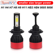 BraveWay H1 H4 H7 H8 H11 9005 HB3 9006 HB4 Led Bulbs for Cars Motorcycle Auto Led Lamp Headlight Fog Light Ice Light(China)