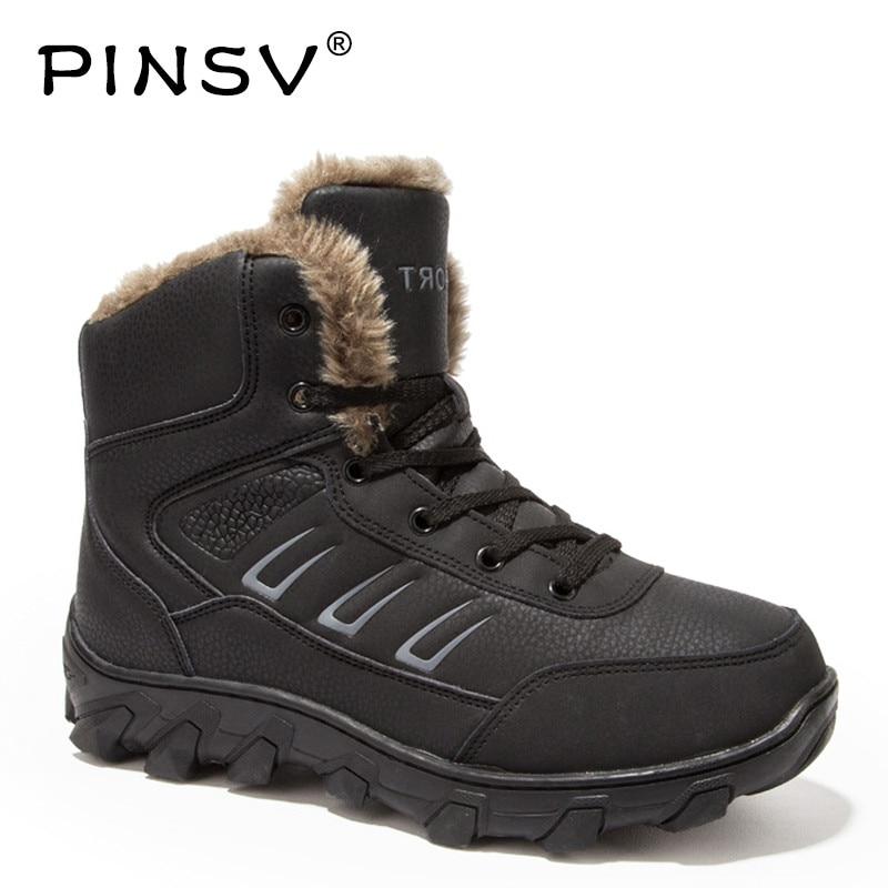 PINSV Winter Boots Men Shoes Genuine Leather Warm Snow Boots Men Winter Shoes Black Outdoor Work Boots Plus Size 39-46 pinsv winter boots men shoes genuine leather warm snow boots men winter shoes black outdoor work boots plus size 39 46