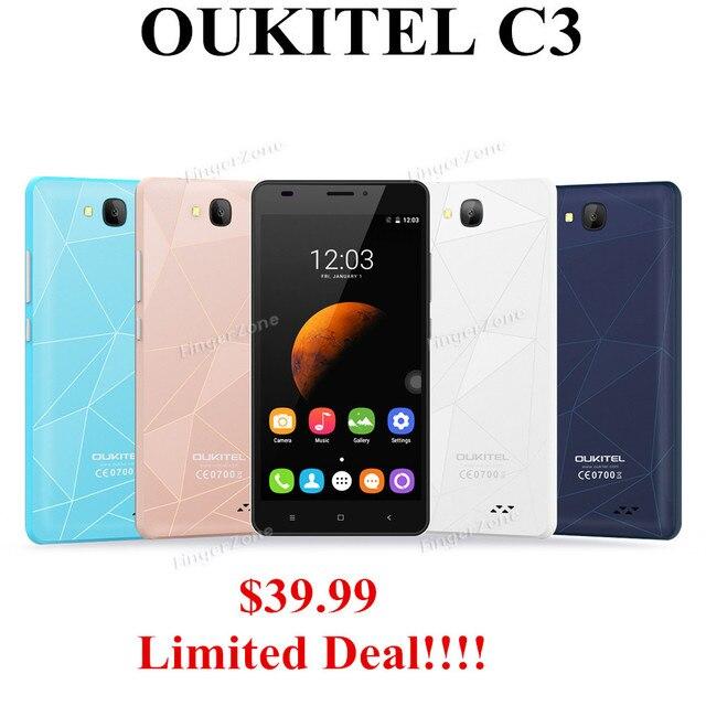 "Original OUKITEL C3  5"" HD IPS Android 6.0 MTK6580 Quad Core 3G WCDMA smartphone 5MP 1gb ram 8gb rom dual sim Google Play Store"