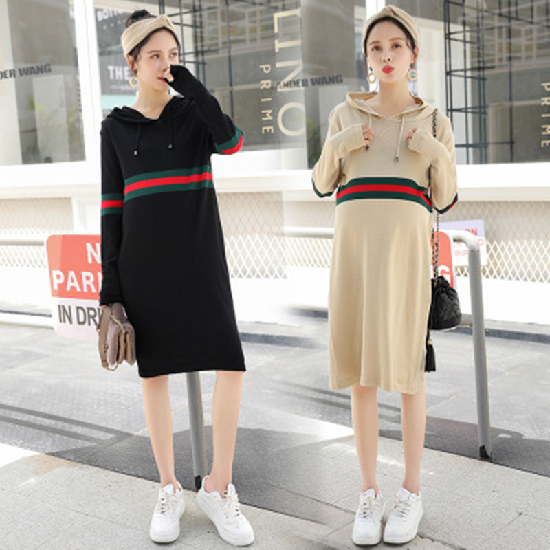 Fashion Maternity Dresses 2018 Spring Autumn Hooded Long-sleeved Bottoming Maternity Clothes For Pregnant Women Mother