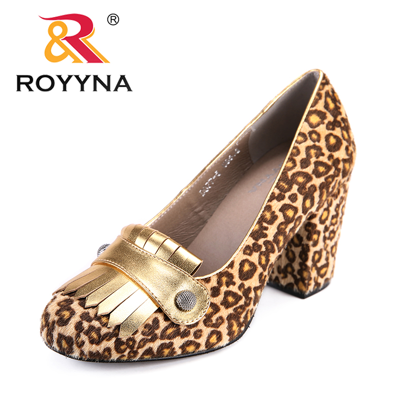 ROYYNA New Arrival Classics Style Women Pumps Round Toe Women Dress Shoes Leopard Lady Wedding Shoes Comfortable Free Shipping royyna new fashion style women pumps round toe women dress shoes high heels women office shoes slip on lady wedding shoes