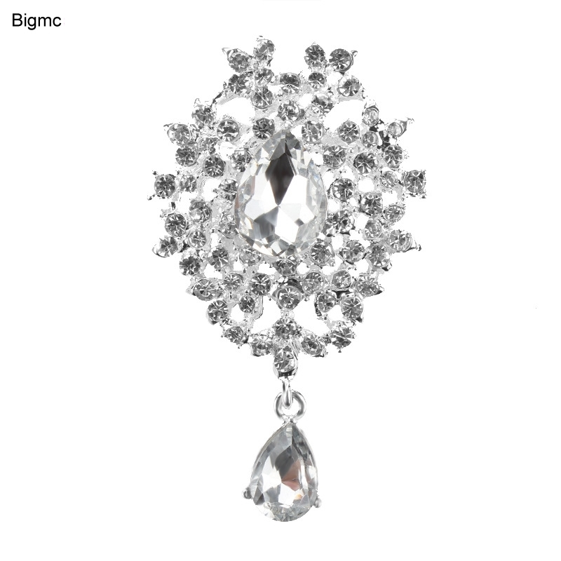 Hot water drops crystal brooch alloy pins hand holding flowers accessories H1037