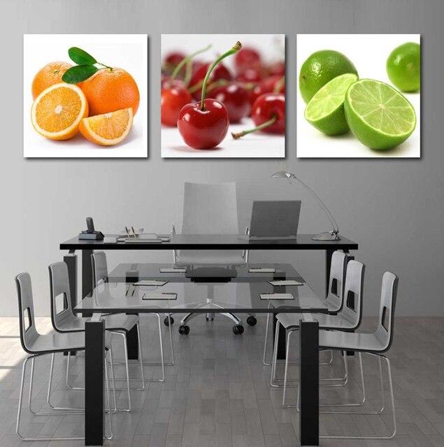 Unframed 3 Stücke Obst Auf Tisch Kaffir Kalk Und Kirsche Moderne Dekoration  Für Küche Wandkunst Bild