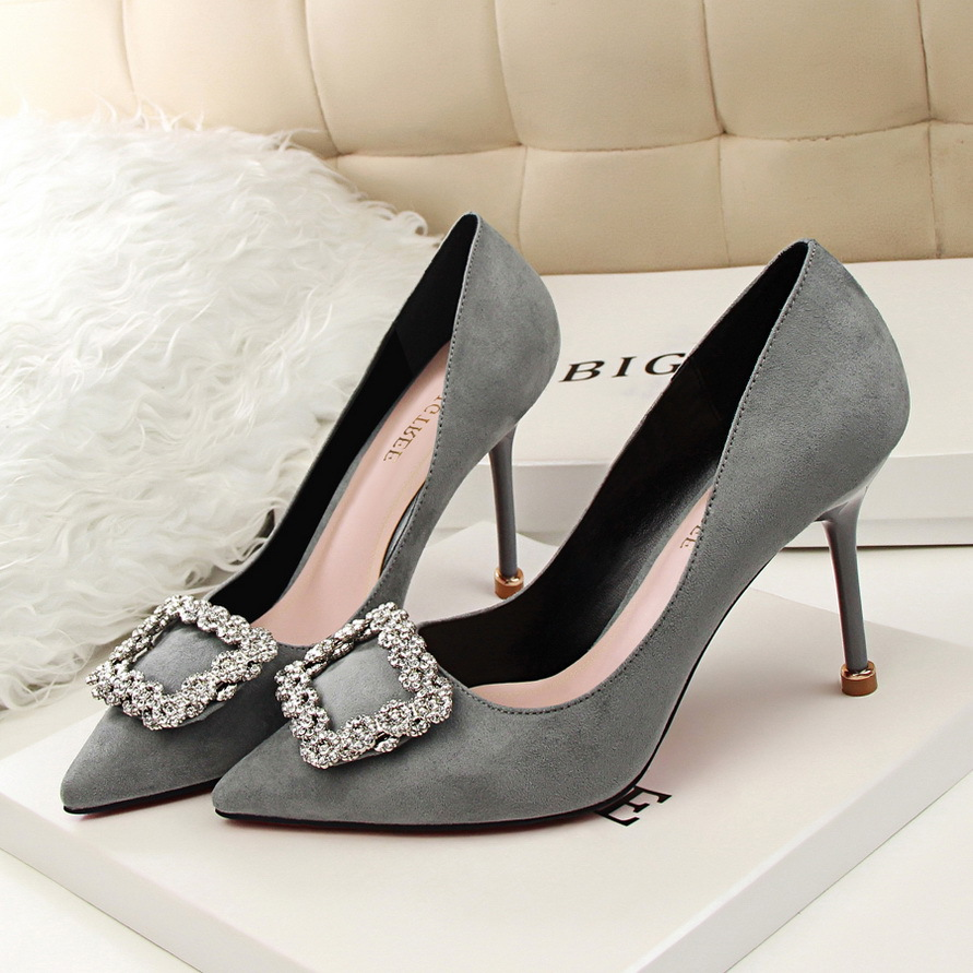 8868b61995e Fashion Women Wedding Shoes Rhinestone Square buckle 90mm middle Stiletto  heels Low cut Vamp Pointed Toe Jeweled Bridal Shoes-in Women s Pumps from  Shoes on ...