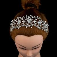 Nankiya Brilliant Zircon Wedding Crown Soft Copper Bridal Tiaras Full Clear Zirconia Flower Headband Corolla Hair Jewelry NT4683