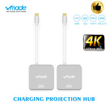 TypeC 4 In1 Thunderbolt 3 Hub USB Type C Sang HDMI 4K Adapter USB C Hub Dock Với Loại C Giao Nguồn Fo Samsung S8 MacBook Pro