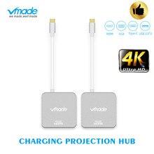 TypeC 4 in1 الصاعقة 3 USB نوع C محور إلى HDMI 4K محول USB C محور قفص الاتهام مع نوع C تسليم الطاقة لسامسونج S8 ماك بوك برو